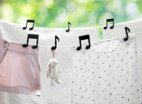 音符の形した洗濯バサミ、これ可愛いなー欲しい(*´д`)洗濯はする...写真